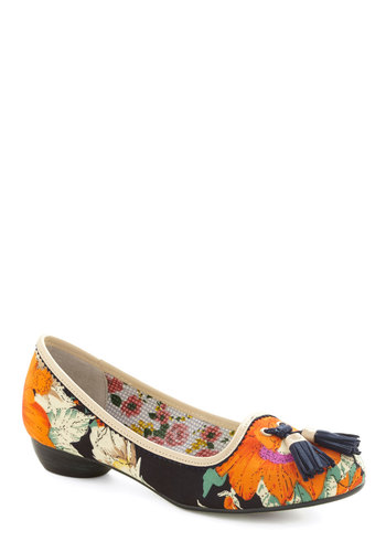 Sophisticated Stroll Heel by Poetic License - Floral, Tassels, Best, Low, Woven, Multi