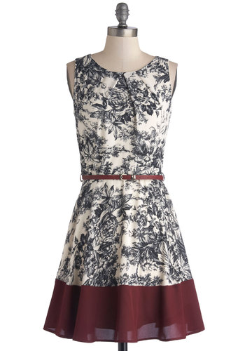Meadow Melodies Dress - Mid-length, Woven, Red, Black, White, Floral, Belted, Party, Daytime Party, A-line, Sleeveless