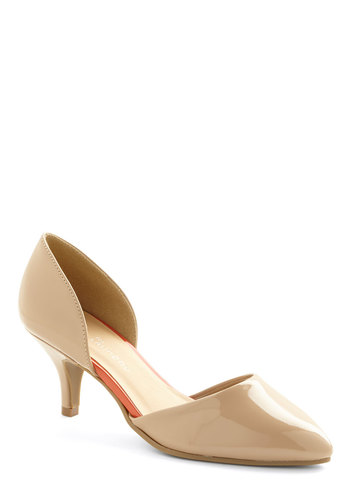 Dream Job Heel - Mid, Tan, Solid, Wedding, Party, Cocktail, Girls Night Out, Holiday Party, Bridesmaid, Minimal, Work, Faux Leather, Basic