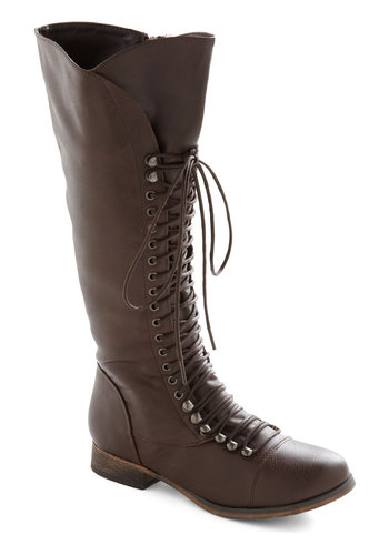 Follow the Cedar Boot in Umber - Brown, Solid, Casual, Fall, Winter, Top Rated, Low, Faux Leather