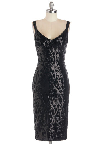 Watch and Sea Dress by Bettie Page - Long, Black, Solid, Sequins, Cocktail, Holiday Party, Bodycon / Bandage, Sleeveless, Better, V Neck