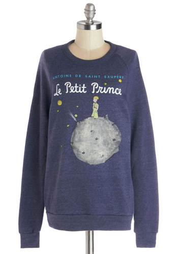 Novel Tee Sweatshirt in Prince by Out of Print - Knit, Mid-length, Blue, Novelty Print, Casual, Sweatshirt, Long Sleeve, Better, Exclusives, Blue, Long Sleeve, Nifty Nerd, Crew, Top Rated