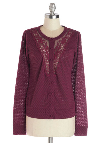 So Berry Nice Cardigan - Sheer, Knit, Mid-length, Long Sleeve, Red, Long Sleeve, Solid, Purple, Buttons, Crochet