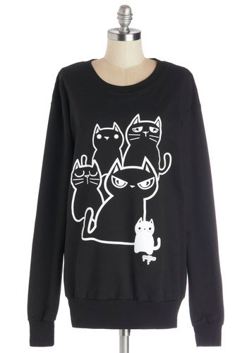 Kitty Crew Sweatshirt - Knit, Long, Black, Print with Animals, Cats, Sweatshirt, Long Sleeve, Black, Long Sleeve, Better, White, Kawaii