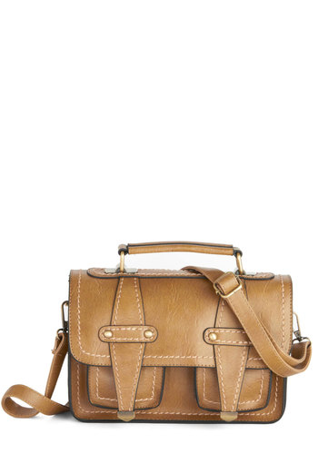 Teak Your Mind Bag - Solid, Trim, Better, Faux Leather, Tan, Work