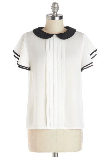 Center Stage Violin Top - Sheer, Woven, Mid-length, Chiffon, White, Black, Solid, Pleats, Trim, Short Sleeves, White, Short Sleeve