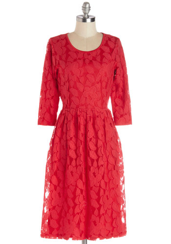 Frond the Ball Dress - Knit, Long, Red, Solid, Lace, A-line, 3/4 Sleeve, Good, Scoop, Casual