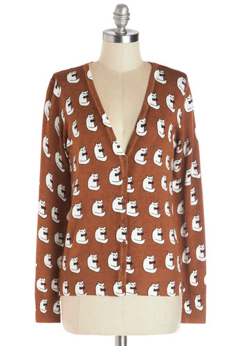 Classy Cat Cardigan - Brown, White, Print with Animals, Cats, Long Sleeve, Better, Knit, Short, Buttons, Casual, V Neck, Brown, Long Sleeve