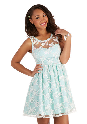 Lily of the Valley Dress in Mint - Sheer, Woven, Mid-length, Mint, White, Lace, Daytime Party, Bridesmaid, A-line, Tank top (2 thick straps), Better, Scoop, Pastel, Variation, Spring, Lace, Wedding