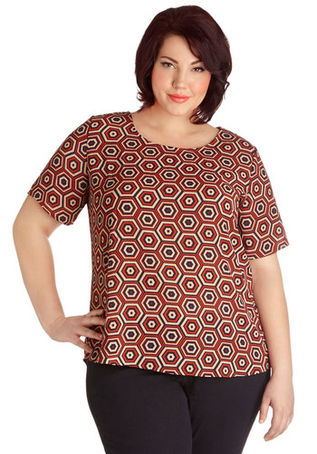 Marvelous Microbiologist Top in Plus Size - Woven, Red, Multi, Print, Exposed zipper, Work, Casual, Short Sleeves, Scoop