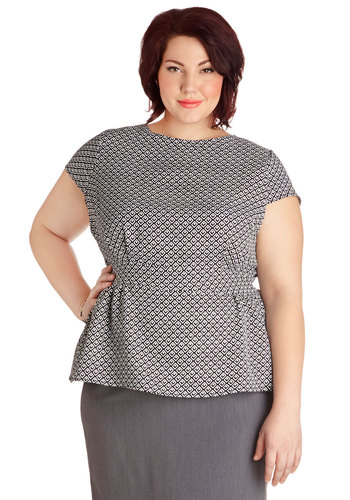 Garden Planning Top in Geometry - Plus Size - Woven, Black, White, Print, Work, Cap Sleeves, Variation, Crew