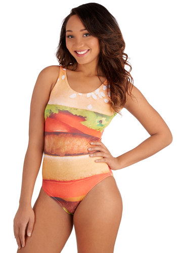 Whim-Surfing One-Piece Swimsuit in Hamburger - Knit, Multi, Novelty Print, Beach/Resort, Quirky, Tank top (2 thick straps), Summer, Variation