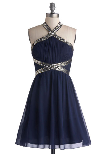 Fond of Formal Dress - Sheer, Woven, Mid-length, Blue, Silver, Sequins, A-line, Halter, Better, Prom, Special Occasion, Party