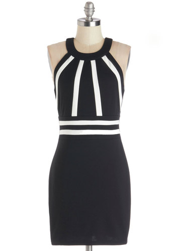Stunning Rays Dress - Knit, Short, Black, White, Backless, Girls Night Out, Sheath / Shift, Sleeveless, Better, Crew, Mini, Bodycon / Bandage