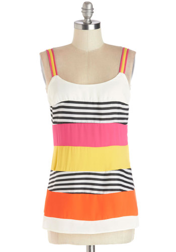 Sweet Someday Top - Mid-length, Multi, Yellow, Pink, White, Stripes, Sleeveless, Better, Multi, Sleeveless, Summer, Festival, Spring, Boho