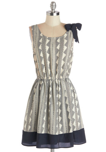 Guiding Delight Dress - Woven, Mid-length, Blue, White, Print, Bows, Casual, A-line, Tank top (2 thick straps), Good, Scoop