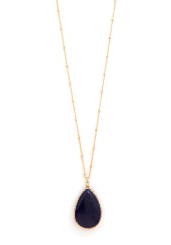 Teardrop Me Off Here Necklace - Blue, Gold, Party, Casual, Vintage Inspired, Gold
