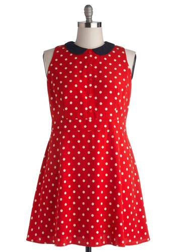 Style on the Spot Dress in Plus Size - Red, Black, White, Polka Dots, Peter Pan Collar, Casual, A-line, Collared, Woven, Buttons, Darling, Show On Featured Sale