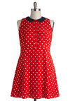 Style on the Spot Dress in Plus Size - Red, Black, White, Polka Dots, Peter Pan Collar, Casual, A-line, Collared, Woven, Buttons, Darling