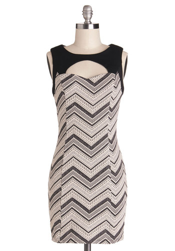 Manhattan Straight Up Dress - Tan / Cream, Black, Chevron, Backless, Cutout, Party, Girls Night Out, Bodycon / Bandage, Sleeveless, Better, Knit, Short, Mini