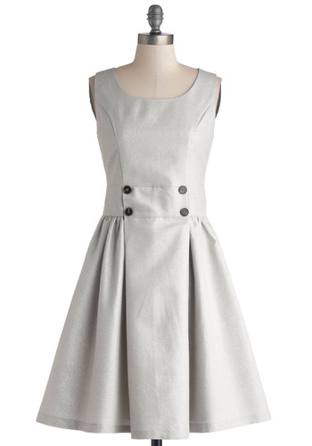 Shimmer is Served Dress - Grey, Silver, Solid, Buttons, Work, A-line, Sleeveless, Better, Scoop, Woven, Mid-length, Pockets