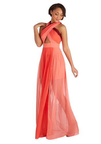 Name of the Dame Dress in Coralberry - Chiffon, Sheer, Woven, Long, Coral, Red, Backless, Cutout, Party, Maxi, Sleeveless, Better, Girls Night Out, Summer