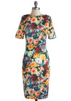 We Grow Together Dress - Knit, Long, Multi, Floral, Party, Sheath / Shift, Short Sleeves, Better, Cocktail