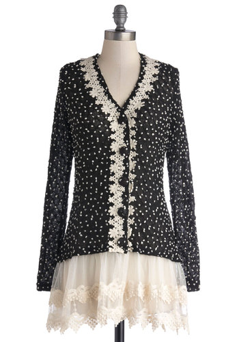 Pointe Taken Cardigan - Sheer, Knit, Black, White, Polka Dots, Wedding, Daytime Party, Darling, Long Sleeve, Black, Long Sleeve, Buttons, Lace, Trim, Lace
