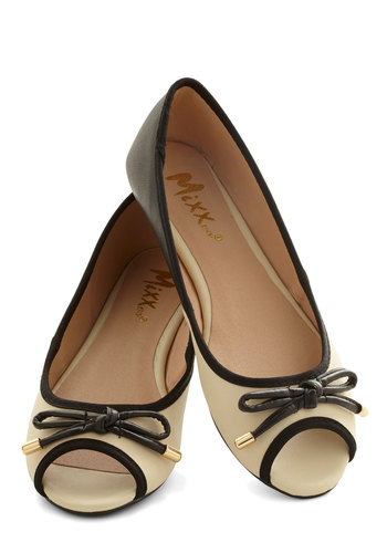 Errand Essentials Flat in Black - Flat, Faux Leather, Cream, Black, Solid, Bows, Good, Peep Toe, Trim, Variation