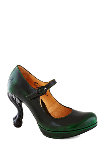 John Fluevog Best Claw-Foot Forward Heel in Deep Ivy by John Fluevog - High, Leather, Green, Black, Solid, Party, Holiday Party, Statement, French / Victorian, Best, Mary Jane, Vintage Inspired, Variation