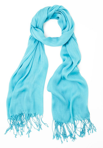 Crinkle in Time Scarf in Turquoise - Sheer, Woven, Blue, Solid, Fringed, Minimal, Good, Variation, Basic, Spring