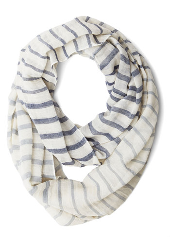 Freshen Your Fashion Circle Scarf - Cotton, Sheer, Woven, Stripes, Nautical, Better, Cream, Grey, Casual, Spring