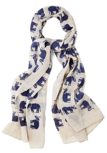 Driving You Wild Scarf - Cotton, Print with Animals, Critters, Better, Cream, Blue