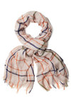 Pickin' Party Scarf - Cotton, Sheer, Tan, Orange, Green, Blue, Checkered / Gingham, Good, Casual