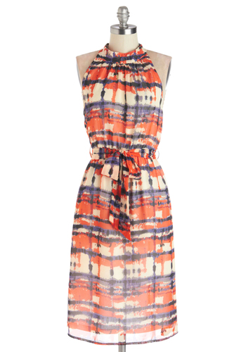 Winsome Watercolors Dress by Tulle Clothing - Chiffon, Woven, Long, Multi, Print, Belted, Casual, A-line, Sleeveless, Better, Sundress