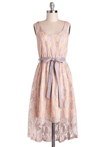 Fireside Fete Dress in Peach - Sheer, Knit, Pink, Grey, Lace, Belted, Daytime Party, High-Low Hem, Tank top (2 thick straps), Good, Scoop, Pastel, Spring, Lace, Mid-length