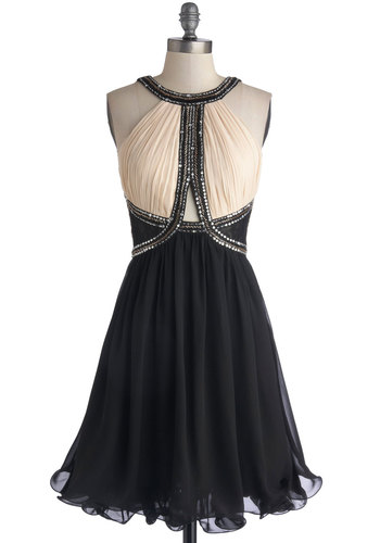 Waiting for the Countdown Dress - Sheer, Woven, Mid-length, Tan / Cream, Black, Beads, Sequins, Holiday Party, A-line, Sleeveless, Better, Ruffles, Party, Prom, Special Occasion
