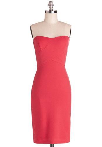 Sangria Tasting Dress - Coral, Solid, Party, Sheath / Shift, Strapless, Good, Sweetheart, Knit, Long, Exposed zipper, Girls Night Out, Bodycon / Bandage, Valentine's