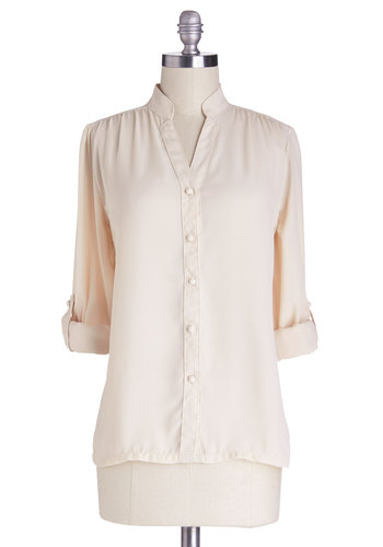 The Grand Tour Guide Top in Ivory by Myrtlewood - Sheer, Woven, Mid-length, Chiffon, White, Solid, Buttons, Work, Long Sleeve, Better, Exclusives, Private Label, White, Tab Sleeve, Variation