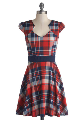 Plaid and Subtract Dress - Knit, Mid-length, Red, Blue, Plaid, Casual, A-line, Cap Sleeves, Good