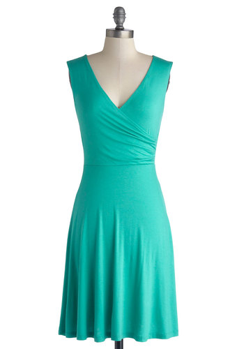 Cheers to You Dress in Turquoise - Knit, Mid-length, Jersey, Solid, Casual, A-line, Sleeveless, Good, V Neck, Blue, Minimal