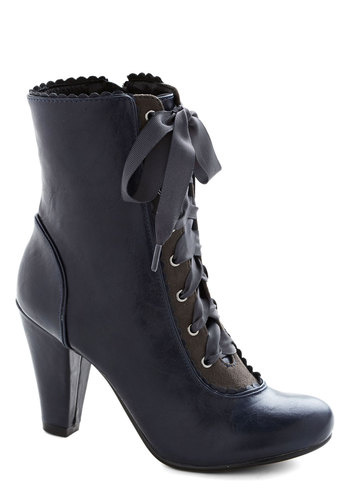 Flair-y Tale Boot in Midnight Blue by Chelsea Crew - Mid, Faux Leather, Blue, Solid, Scallops, Vintage Inspired, French / Victorian, Better, Lace Up, Steampunk, Variation