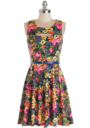 Day to Bright Dress - Multi, Floral, Cutout, Belted, Casual, A-line, Sleeveless, Better, Scoop, Knit, Mid-length, Summer
