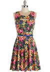 Day to Bright Dress - Multi, Floral, Cutout, Belted, Casual, A-line, Sleeveless, Better, Scoop, Knit, Mid-length