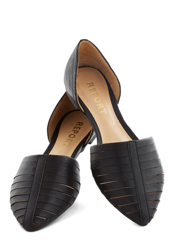 Sweet You Off Your Feet Flat in Licorice - Flat, Faux Leather, Black, Solid, Cutout, Good, Work, Variation