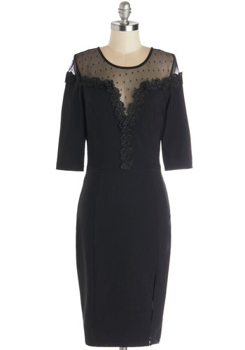 It's an Honor Dress in Noir - Sheer, Knit, Woven, Long, Black, Solid, Cocktail, Shift, 3/4 Sleeve, Better, Scoop, Crochet, Party, Variation