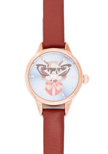 Feline After Line Watch by Louche - Brown, Multi, Print with Animals, Nifty Nerd, Gold, Good, Leather