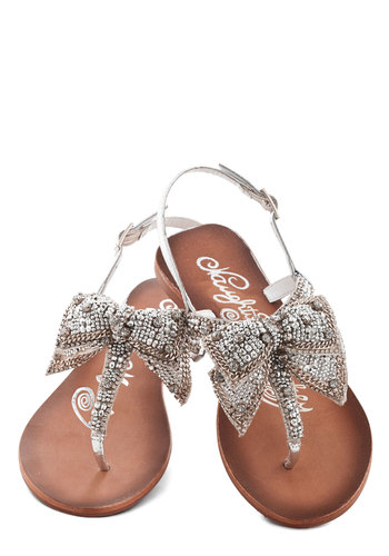 Twinkling Trimmings Sandal in Silver - Flat, Leather, Silver, Solid, Beads, Sequins, Daytime Party, Spring, Summer, Better, Bows, Rhinestones, Variation