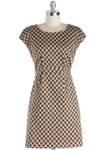 Welcome Homemade Dress by Tulle Clothing - Knit, Mid-length, Tan / Cream, Black, Checkered / Gingham, Work, Shift, Cap Sleeves, Good, Scoop, Pockets
