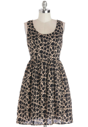 Sundial Style Dress by Tulle Clothing - Woven, Mid-length, Tan / Cream, Black, Floral, Pockets, Casual, A-line, Tank top (2 thick straps), Good, Scoop